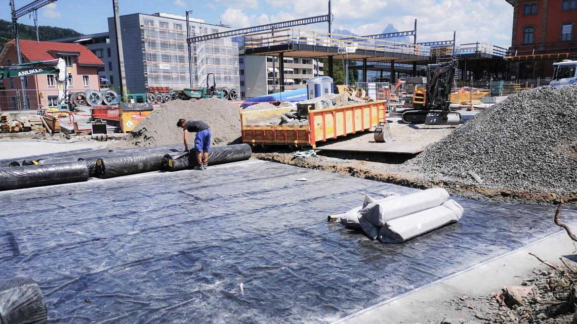 Dualseal auf Decke Neubau am Bahnhofplatz Goldau
